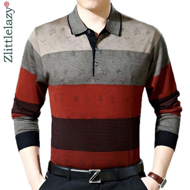 2019 casual long sleeve business mens shirts male striped fashion brand   polo   shirt designer men tenis   polos   camisa social 288