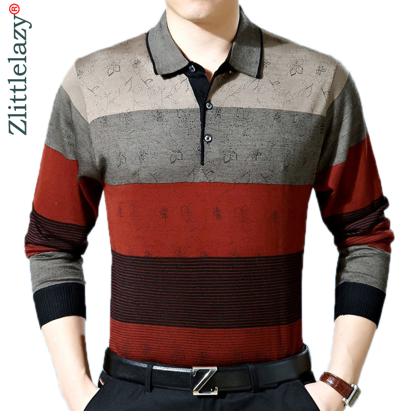 2019 Casual Long Sleeve Business Mens Shirts Male Striped Fashion Brand Polo Shirt Designer Men Tenis Polos Camisa Social 288