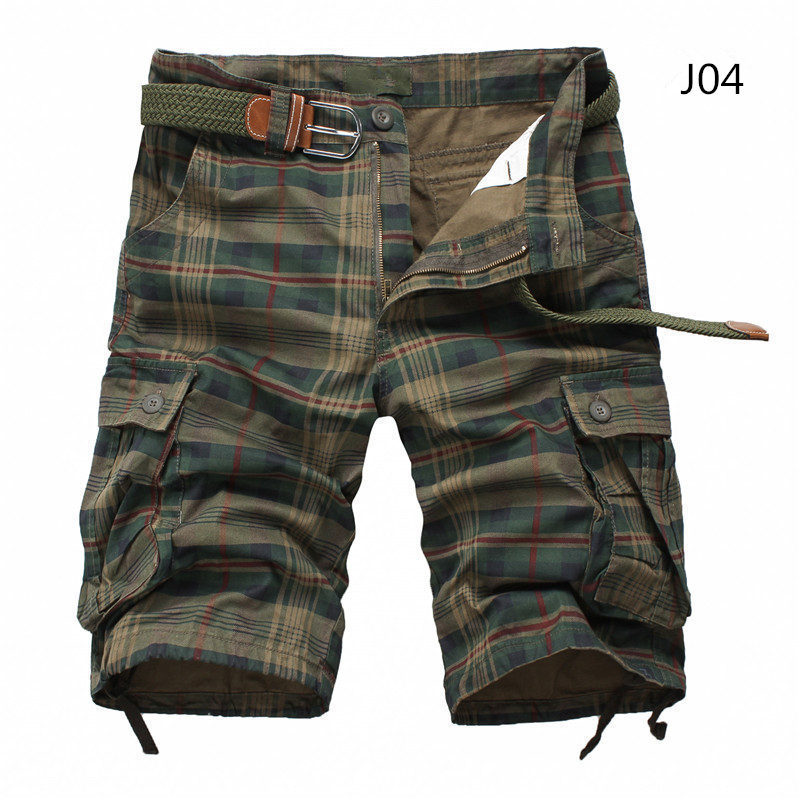 Men Shorts Plaid Beach Shorts 2019 Summer Mens Casual Camo Camouflage Shorts Military Short Pants Male Bermuda Cargo Overalls