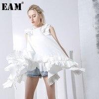 [EAM] 2019 New Spring winter Round Neck Sleeveless Ruffles Pleated Irregular Cut Loose Big Hem White Dress Women Fashion JG310