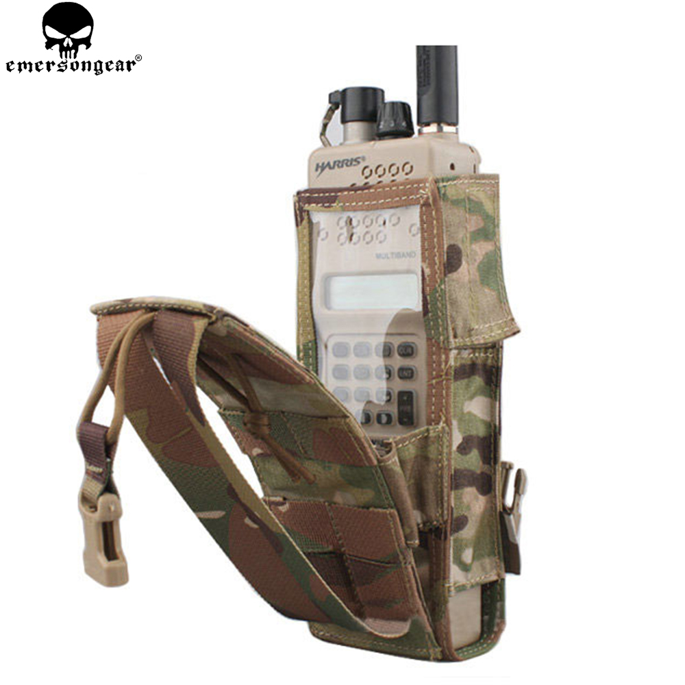 EMERSONGEAR Tactical PRC 148/152 Radio Pouch Hunting Paintball Airsoft Combat Gear Molle Radio Holder Multicam Black EM8350