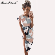 Rose Petunie 2017 Boho style long dress women short sleeve beach summer dresses  print Vintage white mid-calf dress with belt