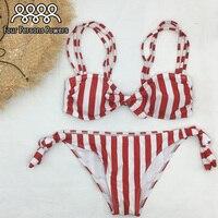 2017 New Summer Women Sexy Bikini Set Floral Swimsuit Bandeau Push Up Swimwear Longline Bandage Bathing