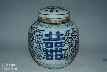 antique QingDynasty porcelain jar,Blue&White pot,Cha,Hand-painted crafts,Decoration,collection & adornment,Free shipping