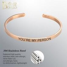 BOAKO Friendship Bangles for woman Bracelets Custom Letter Relief Stainless Steel Bracelet Bangle Minimalist Jewelry Z5