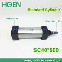 SC40*500 40mm Bore 500mm Stroke SC40X500 SC Series Single Rod Standard Pneumatic Air Cylinder SC40 500