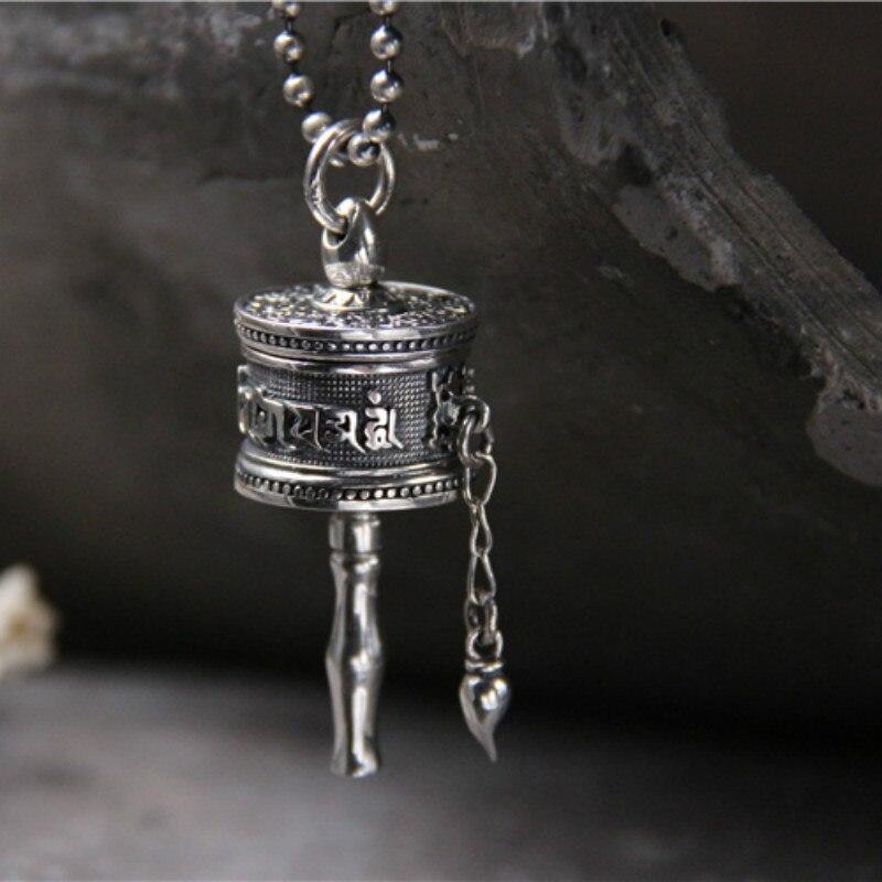 Tibet bouddhisme Surangama Mantra rotatif collier pendentifs sanscrit amulette collier prière roue hommes mallette de rangement bijoux