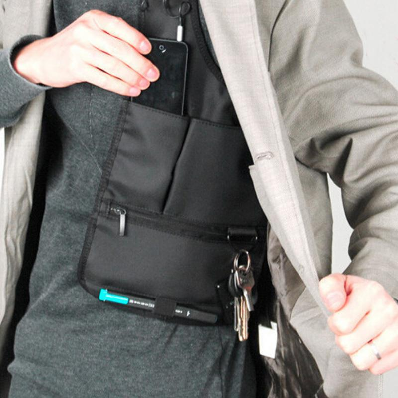 Travel Anti-Theft Hidden Underarm Shoulder Storage Bag Phone Holster Black Nylon Inspector Organizer Bag For Travel