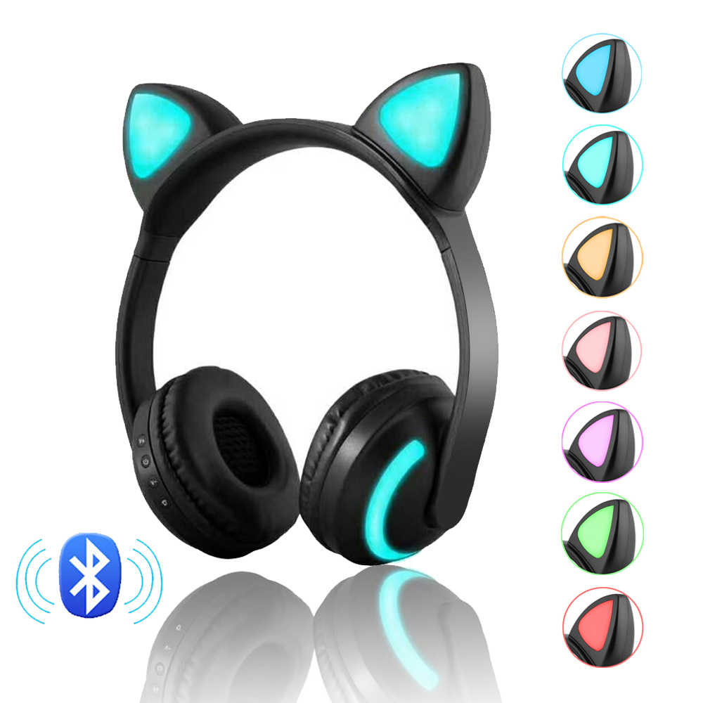 2019 Berkedip Bersinar Kucing Telinga Headphone Nirkabel Bluetooth Steaeo Headset Gaming untuk PC Gamer Ponsel 7 Warna LED Lampu
