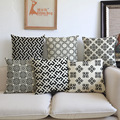 Black and white simple style home Decorative Pillows cojines linen Geometric grid squares 45x45 throw Pillows Cushion