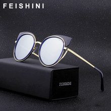 f14440213 FEISHINI Marca Quadro de Cobre de Prata Claras Óculos Polarizados Mulheres  Óculos de olho de Gato 2019 Moda UV Protetor HD Espel.