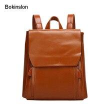 Bokinslon мешок Для женщин Разделение кожа Колледж ветер рюкзак Для женщин S Повседневное Чистый Цвет Бренд Для женщин Сумки