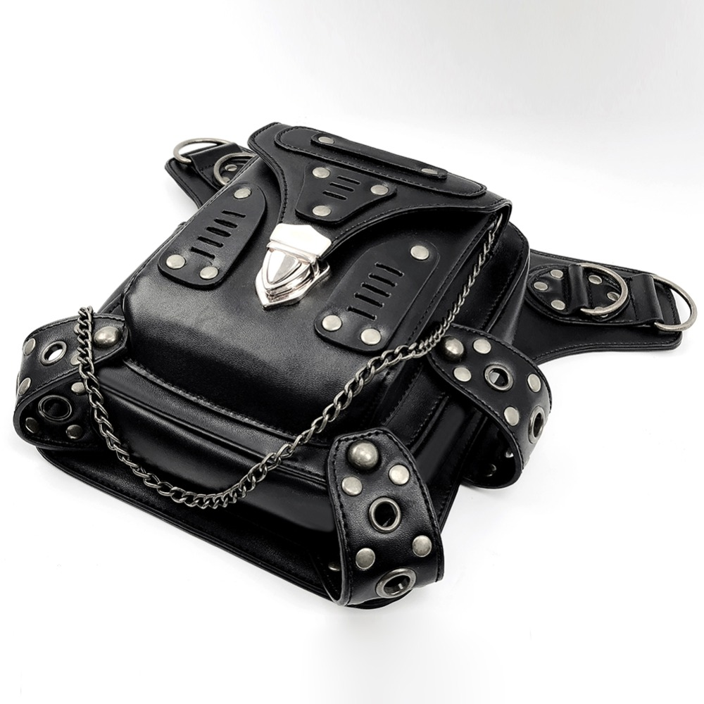 Купить с кэшбэком Norbinus Steampunk Gothic Women Waist Bag Female Rivet Shoulder Crossbody Bags Black Leather Motorcycle Leg Bag Punk Biker Packs