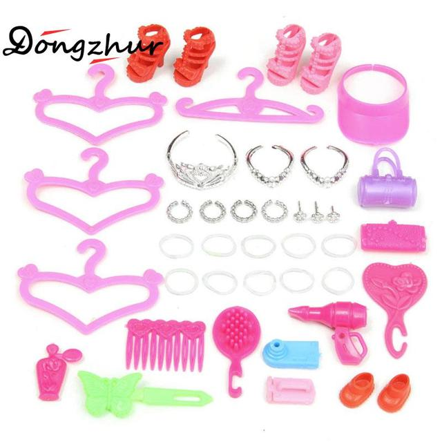 Barbie Shoes Dress Up Accessories Mirror Bag Necklace Hangers 11 Inch Doll Cosmetic Bag Accessories Girl Birthday Present Toy