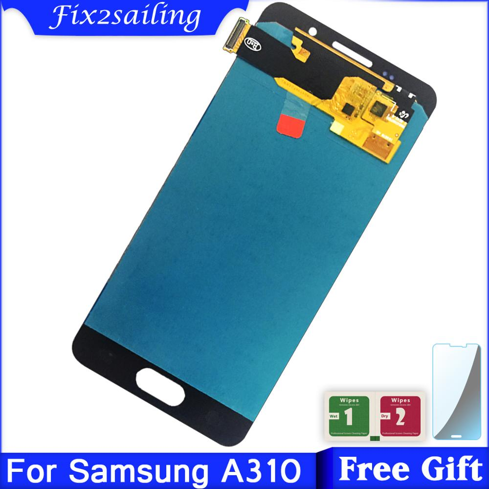 For Samsung Galaxy A3 2016 A310 A310F A310H A310M Amoled LCD Display Digitizer Touch Screen Assembly Brightness AdjustableFor Samsung Galaxy A3 2016 A310 A310F A310H A310M Amoled LCD Display Digitizer Touch Screen Assembly Brightness Adjustable