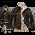 Resident Evil 4 Leon Pu quality coat with fur men's leather jacket free shipping / S-4XL