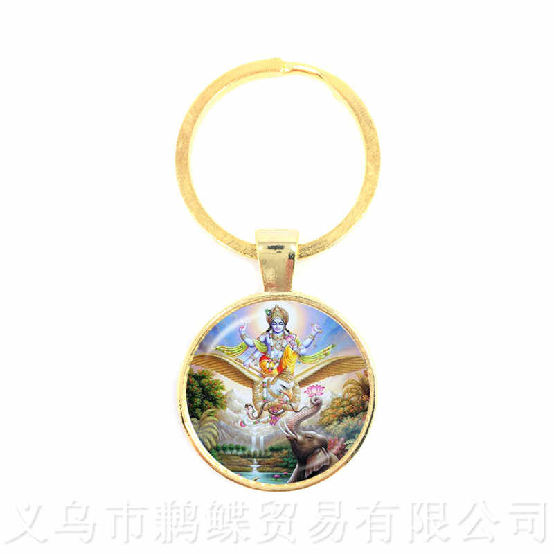 2018 New Ganesh Chaturthi Fashion Keychains For Men Women Lucky Jewelry Christmas Gift Glass Dome Mandala Indian Jewelry Gi