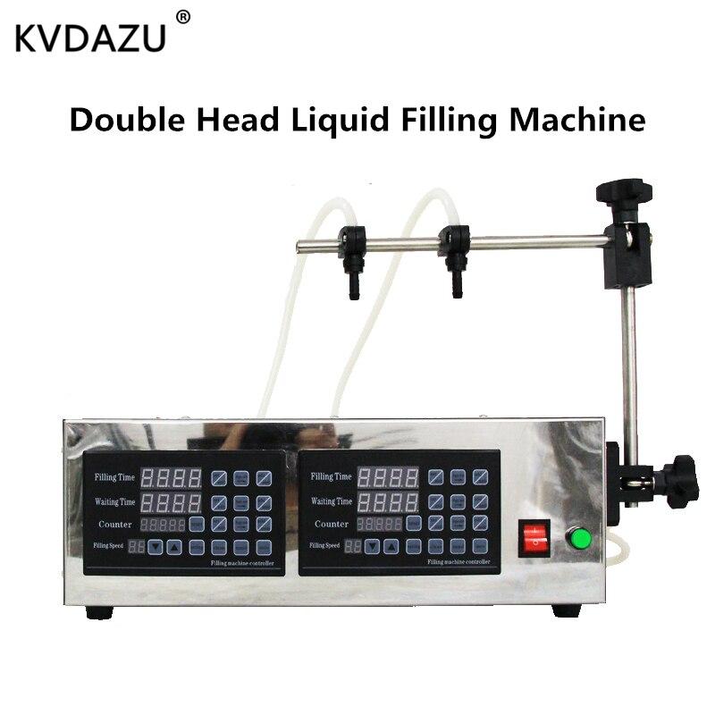 Digital Double 2 Head Liquid Filling Machine Automatic Water Filler Drinks Juice Liquor  Perfume Water Drink Milk Bottles Filler