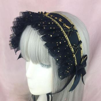 Japanese Gothic Dark Girls Cross Starry sky Headband Lolita Bonnet Lace Bow Headwear Cosplay Punk Hair band Black Accessories 1