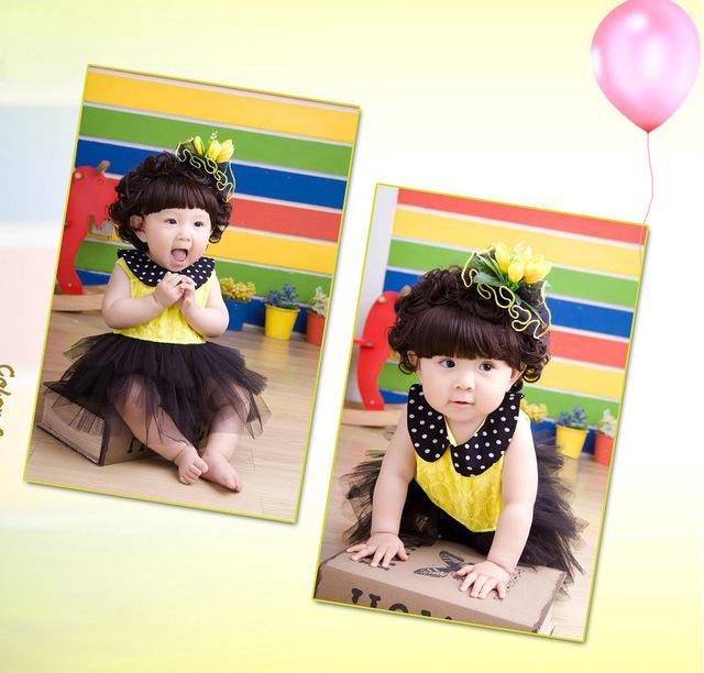 Calor! 2016 bebé recém-nascido bonito vestido de princesa vestido tutu Lei malha véu frete grátis + headband fotografia idade
