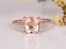 MYRAY Pink Morganite Engagement Ring,14K Gold,8mm Cushion Cut Stone,Diamond Band,Bridal Wedding Ring,Gemstone Ring