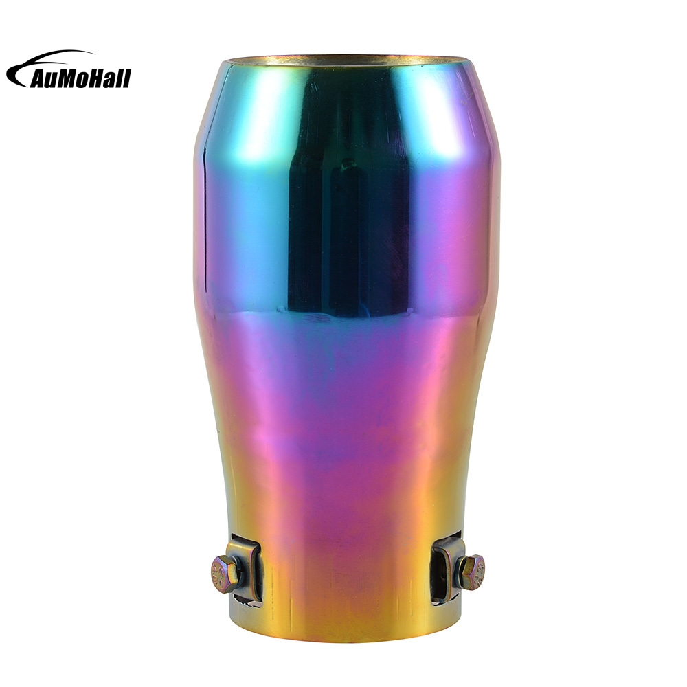 Car Stainless Steel Colorful Purple Chrome Round Tail Muffler Tip Pipe font b Automobile b font