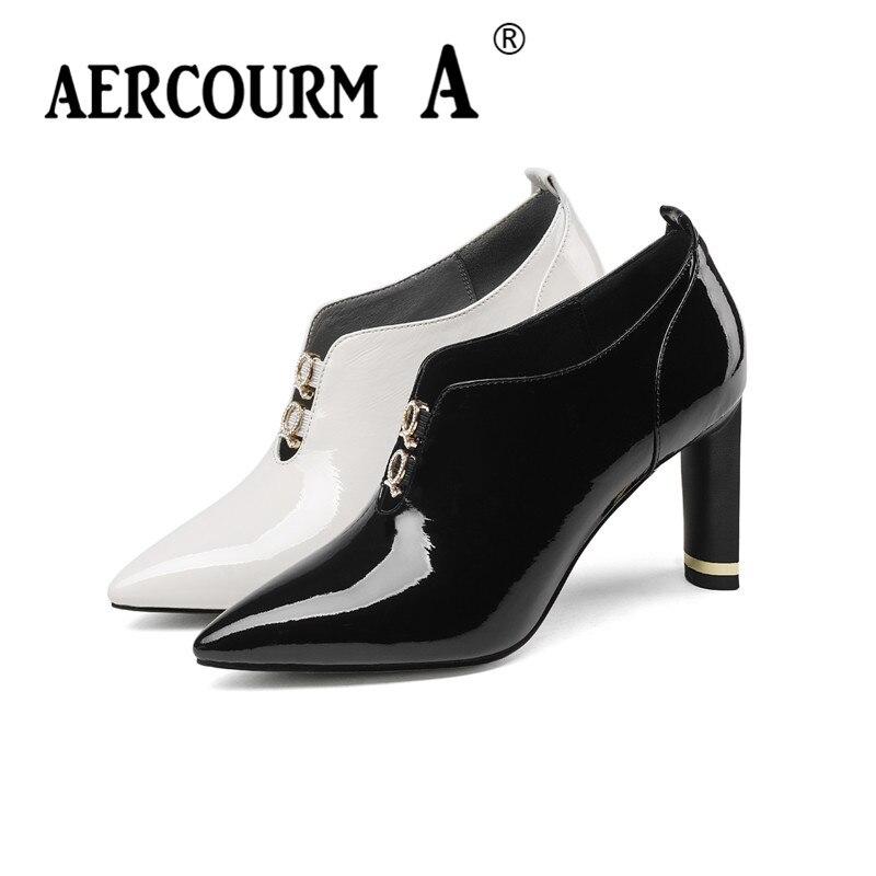 af5b7f64413357 34 Chaussures Mariage 2019 Lady Grande Taille Boucle Femmes noir Épais  Aercourm Talon Beige Pompes Pointu ...