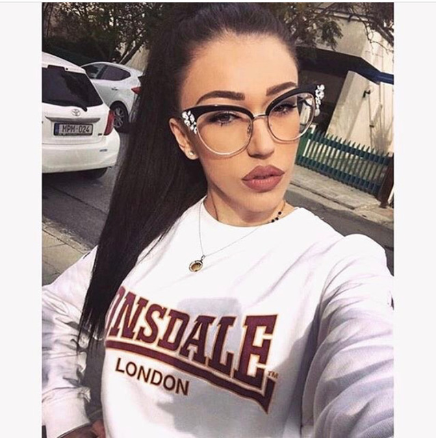Cat Eye Shiny Rhinestones Designer Eye wear Optical Eye Glasses