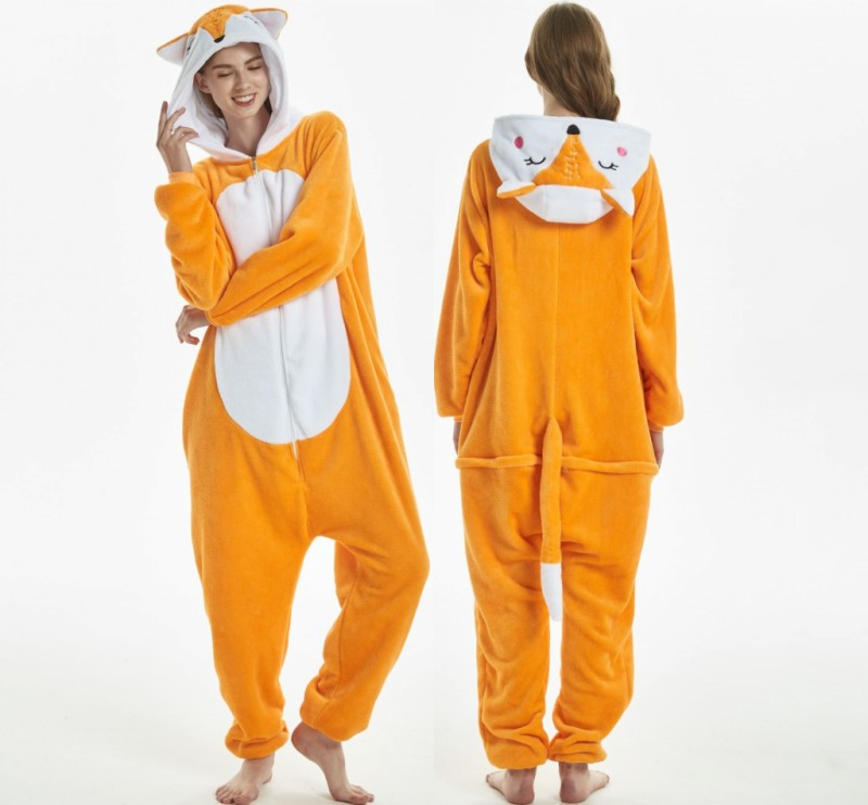 Fox Kigurumi Pajamas Adult Onesie Women Pyjamas Pijama Tiger Monkey Onesies For Adults Winter Sleewear Onepiece 2019 in Pajama Sets from Underwear Sleepwears