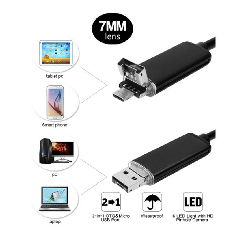 HD 2M 2 in 1 Endoscope font b Android b font PC USB 7 0MM 6