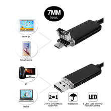 HD 2M 2 in 1 Endoscope Android PC USB 7.0MM 6 LED Waterproof Endoscope Inspection Camera Inspection with Length Cable Mini