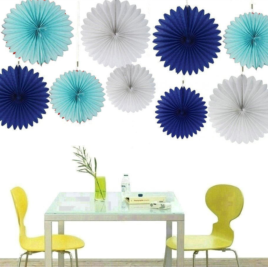 New 5pcs Tissue Paper Fan Diy Crafts Hanging Wedding: 6inch 15cm Wedding Party Decoration Paper Crafts White