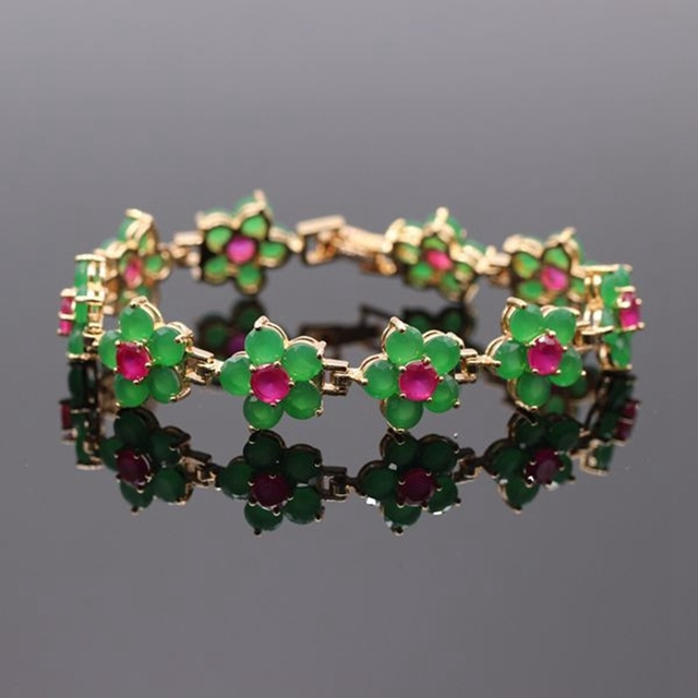 Beautiful Flowers Bracelet Gold Plated Natural Red & Green Zircon Bracelet A Grade Crystal Birthday Gift Free Shipping