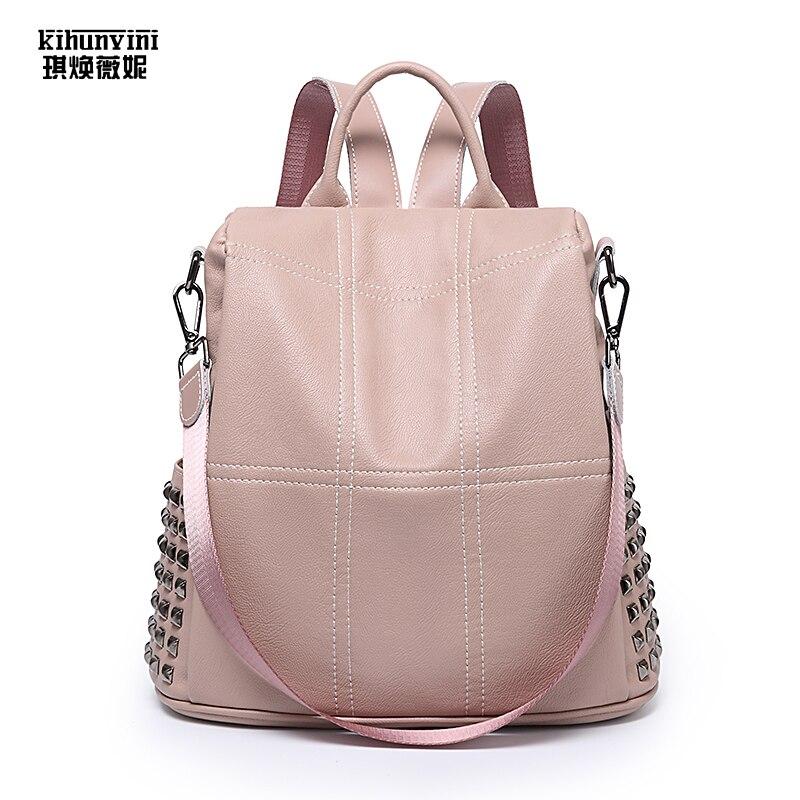 Anti Vol sac à dos pour femme Pu sacs à dos en cuir Dames Rose Matelassé Revites Sacs À Dos 2019 nouvelle mode De Luxe Sacs mochila