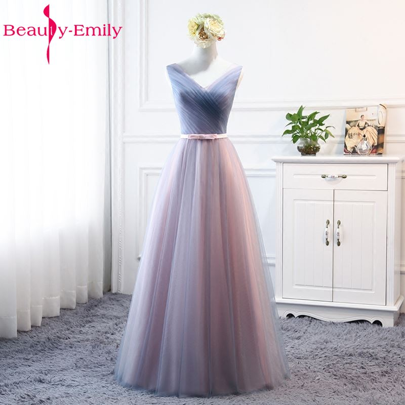 Beauty Emily New Design Long Bridesmaid Dresses 2020 A-Line Sleeveless Off The Shoulder Homecoming Wedding Party Dresses