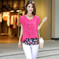 New Summer Style Twinset Patchwork Basic Women's t-shirt Chiffon Lady Shirt Plus Size L-3xl 4xl 5xl (bust 120cm) Female Shirts