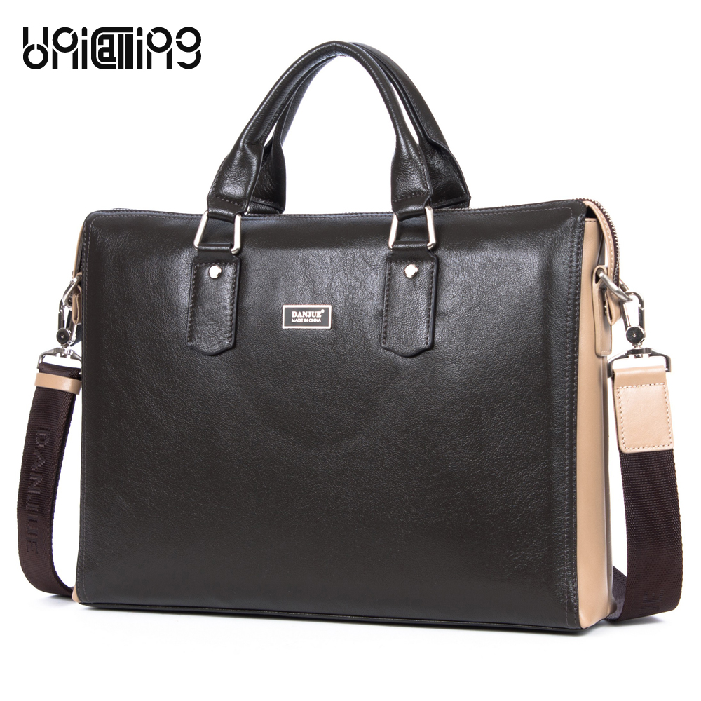 New Dark Brown 14 inch laptop genuine leather business briefcase bag Real Leather men computer handbag Business Essential портмоне mano business 19008 19008 brown