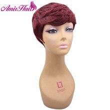 Amir короткие парики для американских женщин черный синтетический парик красный косплей короткие вьющиеся волосы парик на шнурке с гребнями внутри