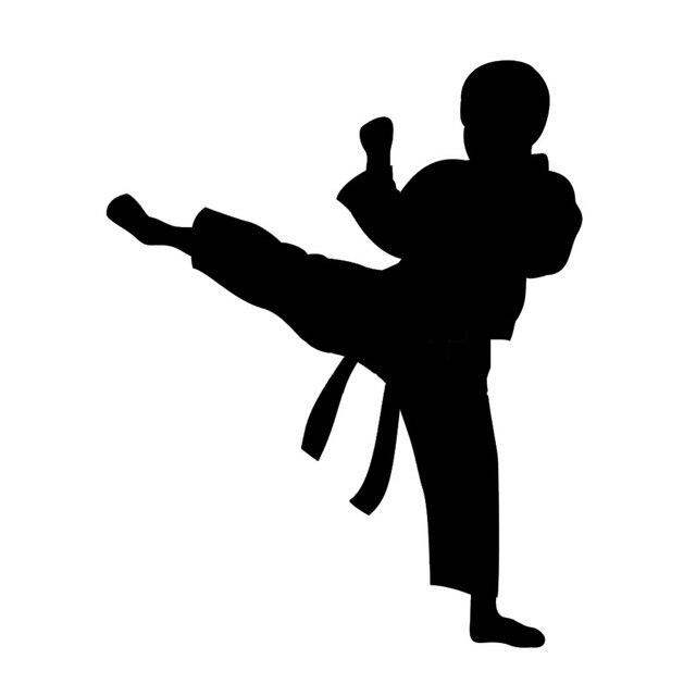 Karate Junge Silhouette Starke Muster Vinyl Auto Styling