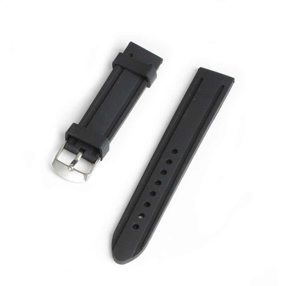 2018 New 20mm 22mm 24mm Watchband Black Silicone Rubber Bands For Watches Replace Electronic Wristwatch Band Sports Watch Straps
