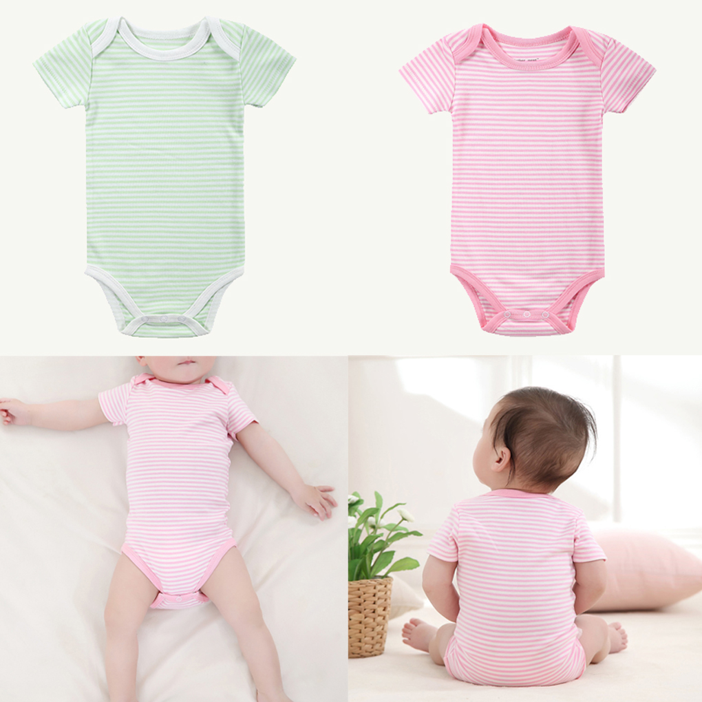 Newborn Baby Toddler Summer Stripe Short Sleeve Baby Ha Clothing Baby Onesies