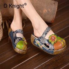 Summer Woman Shoes Platform Slippers Cow Leather Wedge Flip Flops Women High Heel Slippers For Women Casual sandals Female shoes women sandals summer new leather shoes woman high heels open toe strap flip flops platform wedge heel plus size shoes female do