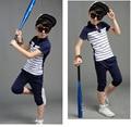 В розницу новый свободного покроя полосатый мальчик летом устанавливает детская одежда комплект мальчик летние детской одежды свободного покроя комплект conjunto menino G004