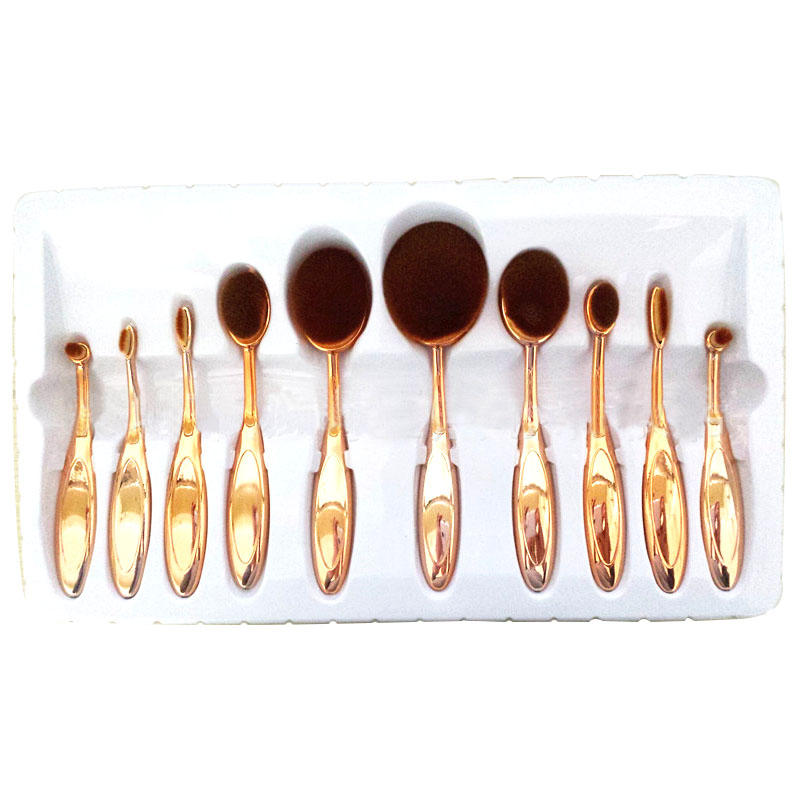 (Rose Gold ) 10PCS/Set Toothbrush Shaped Eyebrow Foundation Power Face Eyeliner Lip Oval Cream Puff Brushes Makeup Beauty Tools