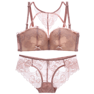 Image 1 - 2018 new sexy beauty back pack young girls lace intimates one piece seamless push up women underwear wireless bra lingerie sets