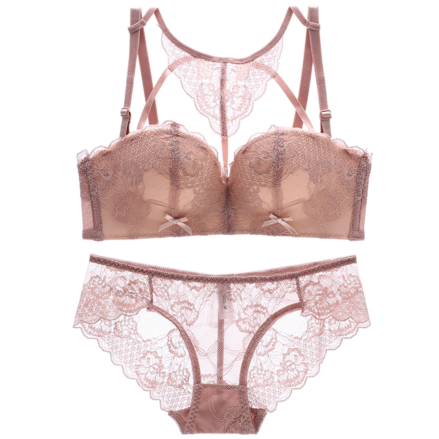 2018 new sexy beauty back pack young girls lace intimates one piece seamless push up women underwear wireless bra lingerie sets