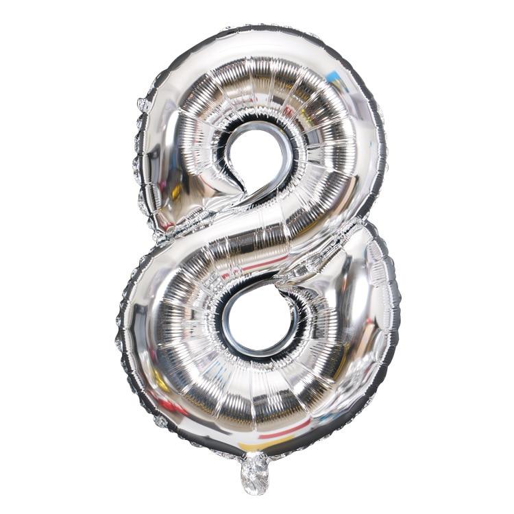 32 дюйма 0-9 Большие Гелиевые цифровые воздушные баллоны фольги детские игрушки на день рождения серебристые золотые розовые вечерние Детские Мультяшные шляпы - Цвет: silver 8