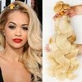 Moda Color #613 Honey Blonde Extensión Armadura Del Pelo Indio Virginal Onda Del Cuerpo Del Pelo indio 3 Unids lote Bundles Cabello Humano extensión