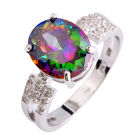 2017 Fashion Women Glamour Rainbow CZ  Silver Color Ring Size7 8 9 10 Jewelry Gift  Wholesale