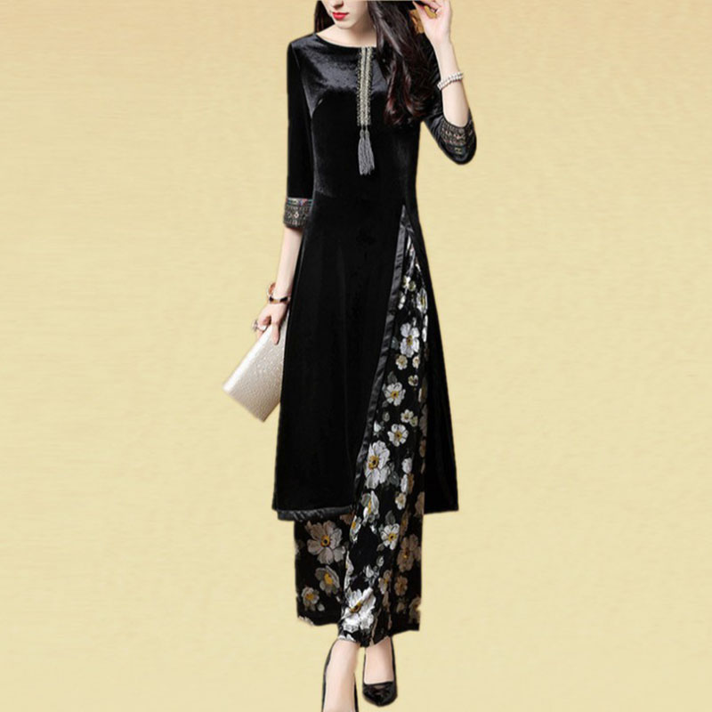 winter autumn 2018 women fashion 2 pieces pant suits velvet long coat and wide leg floral